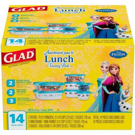 Glad Lunch Variety Pack Disney Frozen Food Storage Container