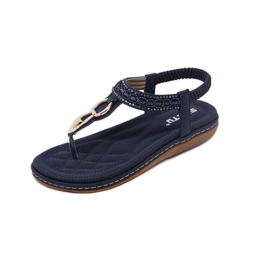Mysky Women Bohemian Sweet Beading Clip Toe Sandals Ladies Summer Leisure Beach Soft Flat Flip Flops Sandals