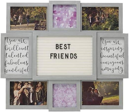 MELANNCO Metannano - Tabla de Letras Personalizable con 8 Fotos de Apertura, 48,26 cm por 43,18 cm: Amazon.es: Hogar