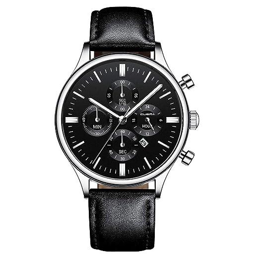 VEHOME Inteligentes Reloj de Pulsera analógico de Cuarzo, Cuero, Cuero, Caja de Acero Inoxidable para Hombres. Relojes relojero Reloj reloje hombresRelojes ...