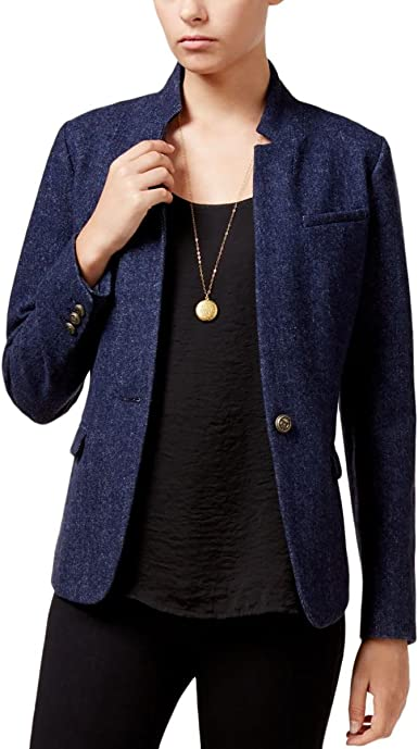 Maison Jules Womens Pattern Long Sleeves Fashionable Cardigan Sweater Blue Notte L