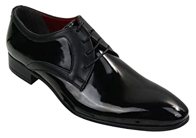 065760a415079 Mens Smart Formal Laced Black Patent Leather Shiny Shoes: Amazon.co ...