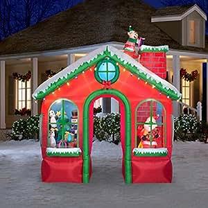 Amazon Com Christmas Animated Inflatable Santas House