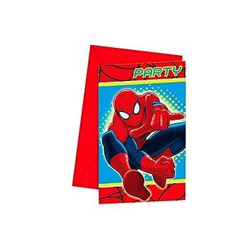 6 Einladungskarten Spiderman