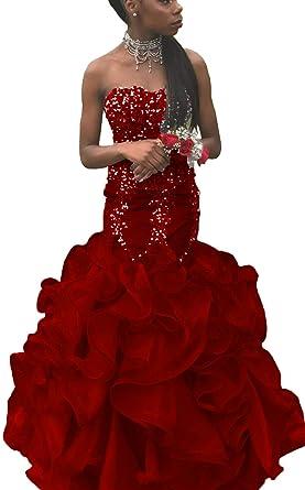 Zechun Womens Mermaid Strapless Ruffles Rhinestone Prom Dress Evening Gown Burgundy US2