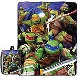 Licensed Character Drawstring Tote and Micro Raschel Throw Blanket Set - Soft, Plush and Comfortable (Ninja Turtles)