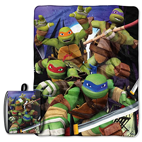 Licensed Character Drawstring Tote and Micro Raschel Throw Blanket Set - Soft, Plush and Comfortable (Ninja Turtles)