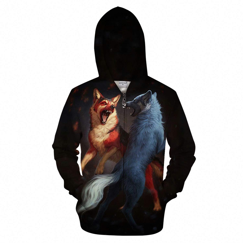 Wolf Fighting 3D Zip Hoodies Men Hoody Sweatshirts Zipper Tracksuit Pullover