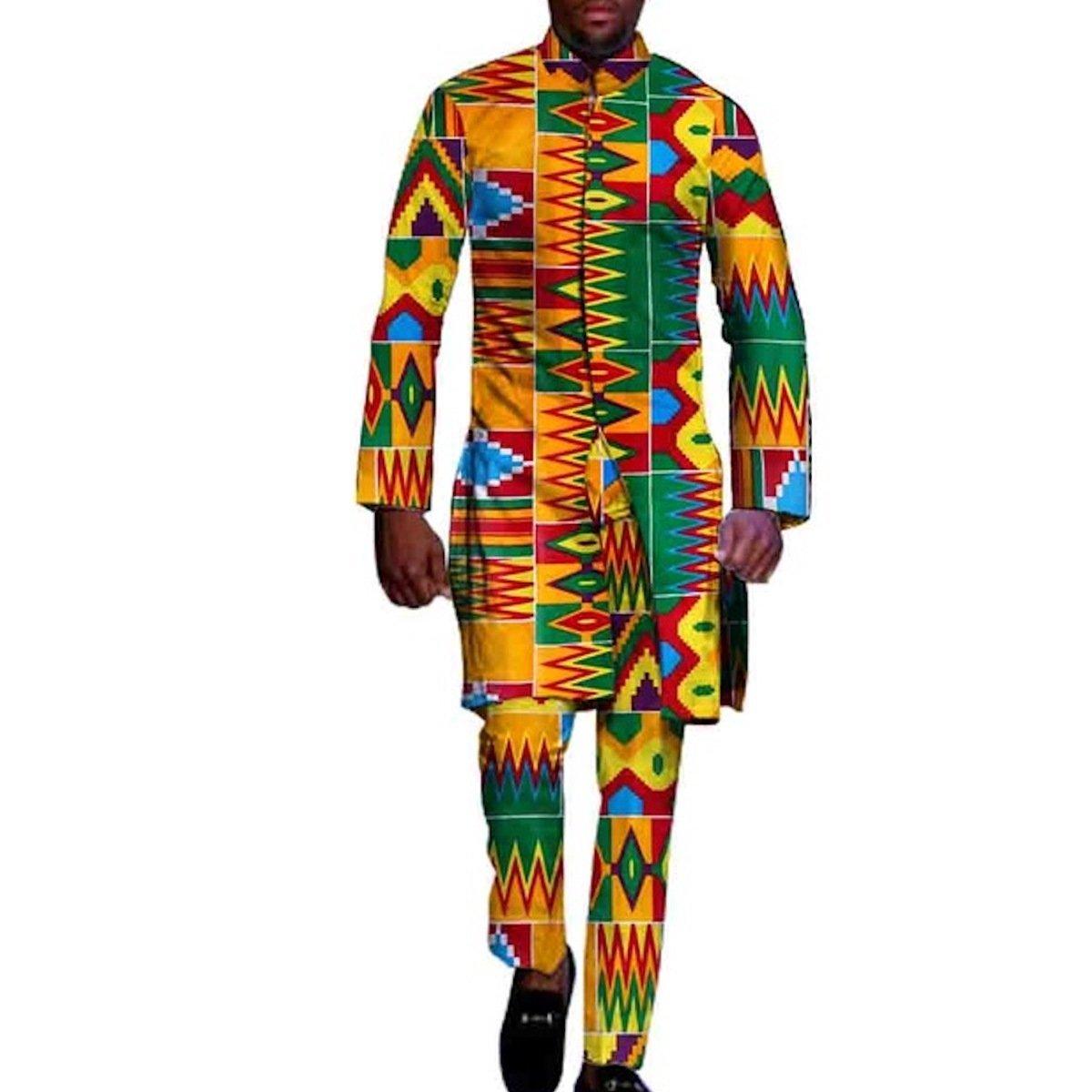 African Clothing for Men 2 Piece top pants Ankara Dashiki Cotton Print Style Amazon