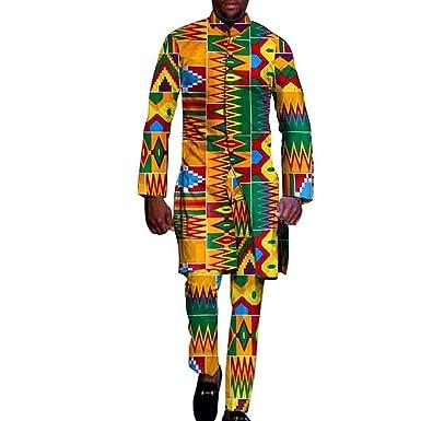 0ce6ad74921 Amazon.com  African Clothing for Men 2 Piece top pants Ankara Dashiki  Cotton Print Style Amazon  Clothing