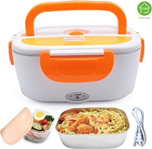 XDeal Electric Warming Lunch Box Food Heater 1.5L 110V Home-Use Plug In Lunch Warmer Portable Bento Box Lunch Heater With Removable 304 Stainless Steel Container Food Grade Material(Orange)