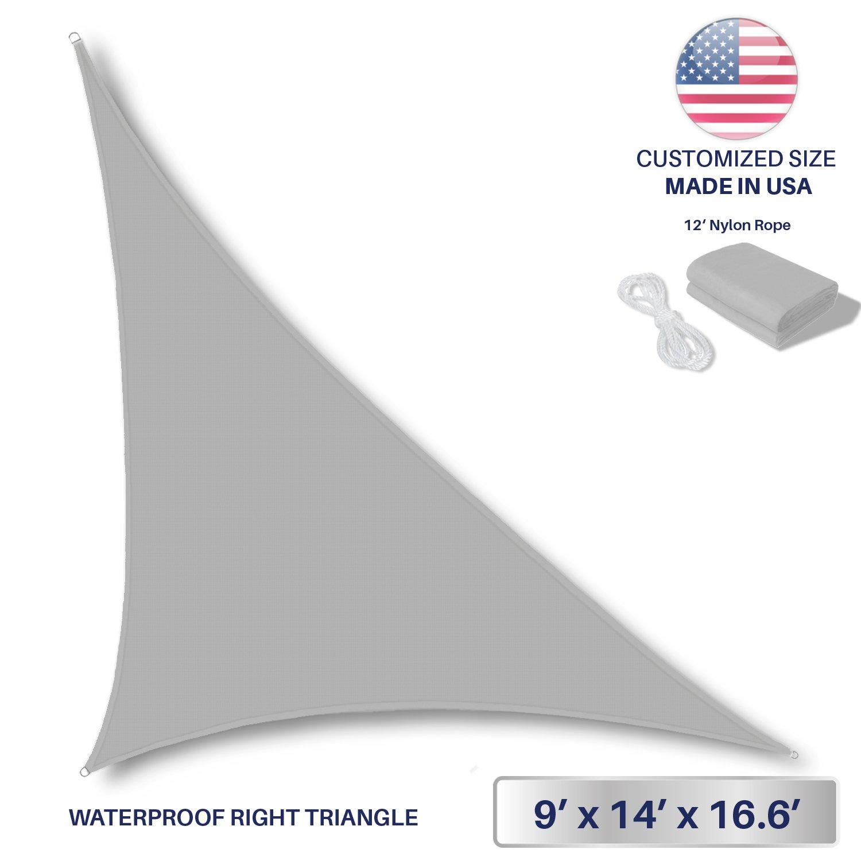 Windscreen4less Terylene Waterproof Sun Shade Sail UV Blocker Triangle Sunshade Patio Canopy Sail 9' x 14' x 16.6' in Color Light Grey - Customized Sizes