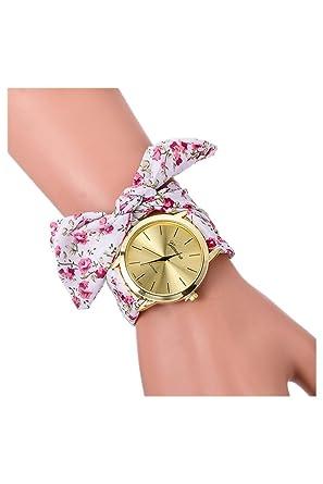 Montre,bracelet , GENEVA Montre,bracelet de bande d\u0027echarpe de dots pour  femmes blanc floral