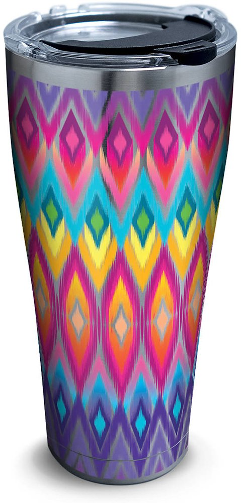 Tervis 1284367 Bright Jewel Print Stainless Steel Tumbler with Clear and Black Hammer Lid 30oz, Silver