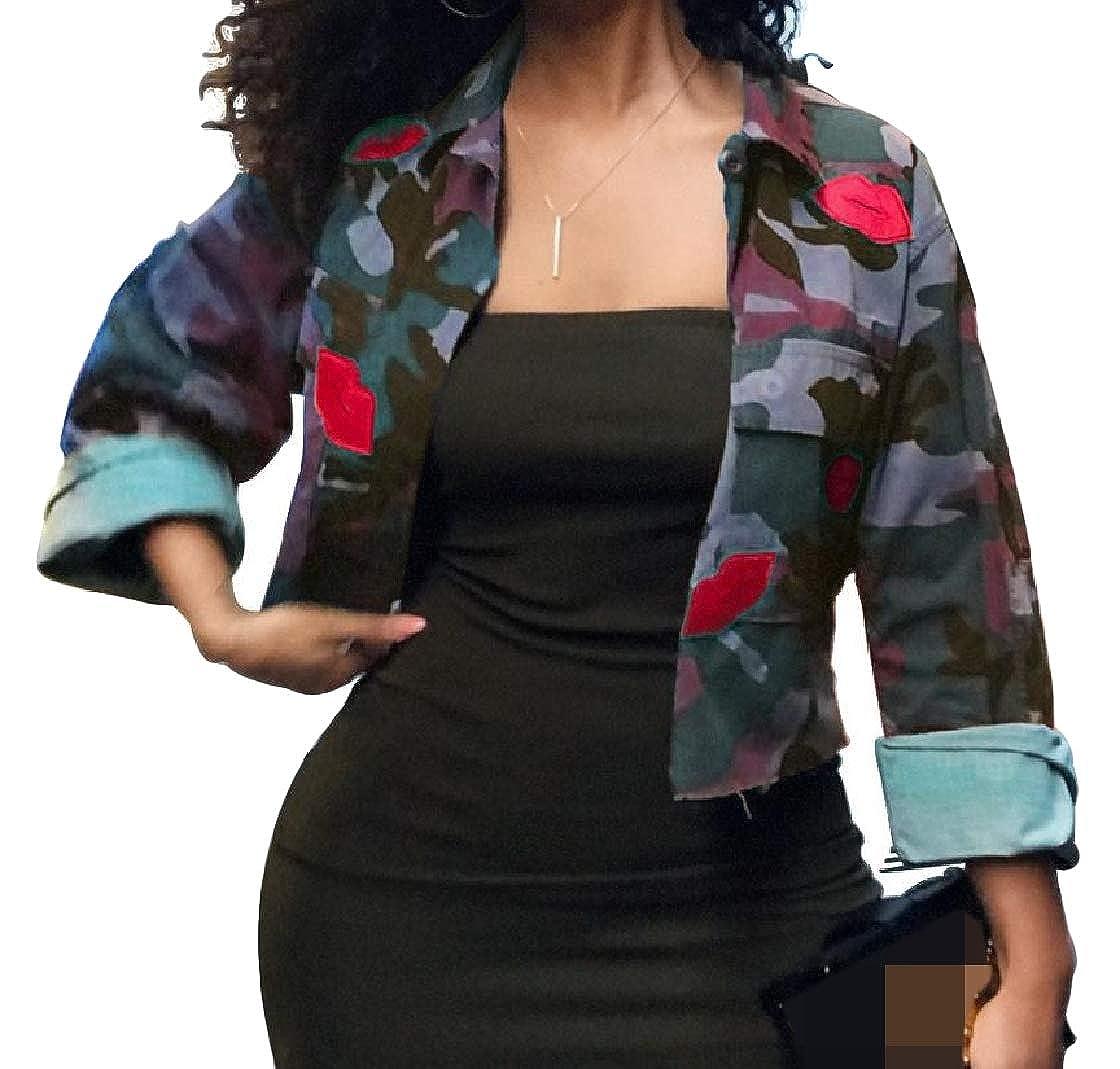 YUNY Women Stylish Button Camo Short Pocketed Lapel Outwear Jacket Pattern2 XS