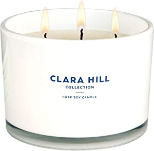Clara Hill Collection - Toasted Marshmallow & Sandalwood - 100% Pure Soy Wax | Large 12oz | 50 Hour Burn | 3 100% Cotton Wicks | Natural Slow Clean Burn | Highly Scented | Hand Poured Scented Candle