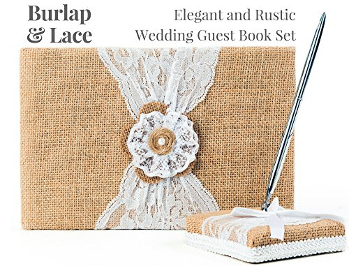 Rustic Wedding Guest Book Made of Burlap and Lace - Includes Burlap Pen Holder and Silver Pen - 120 Lined Pages for Guest Thoughts - Comes in Gift Box (Jute & Lace Flower with Pearl Center) (Book Lace)
