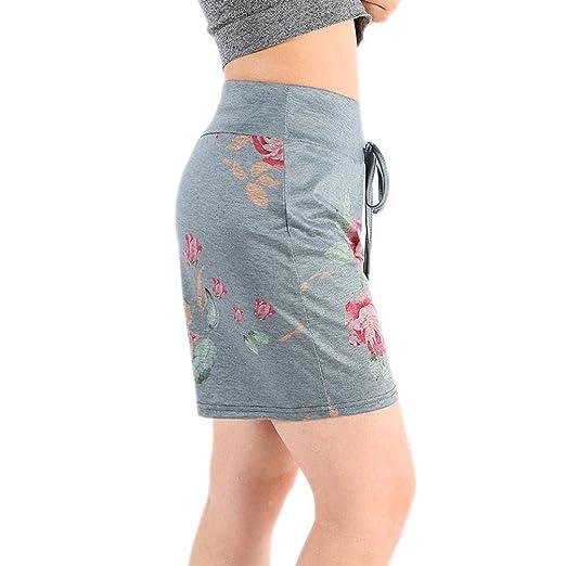 Logobeing Pantalones Cortos para Mujer - Pantalones Cortos con Cordones Estampados Florales Pantalones Cortos de Playa Verano: Amazon.es: Ropa y accesorios