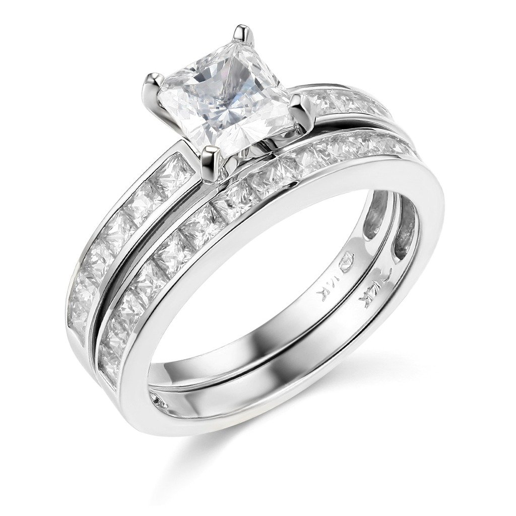 TWJC 14k White Gold SOLID Engagement Ring and Wedding Band 2 Piece Set - Size 5.5