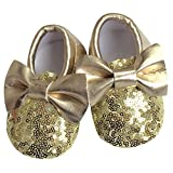 Diamondo Baby Girl Shoes PU Leather Sequins Bow Tassel Prewalker Soft Soled Cute (Gold, 12.5cm) For Sale
