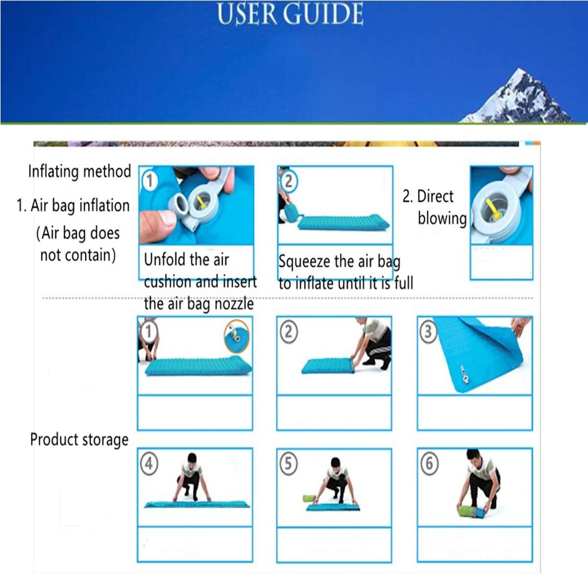 Senderismo y Escalada Azul Inflable r/ápida HJ Stay Real Esterillas Inflables Port/átil Colchones de Aire con Almohada Impermeable Esterilla Acampada Camping Resistente a Humedad para Viajes