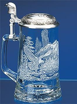 Amazon.com | James Meger German Glass Bald Eagle Beer Stein: Beer ...