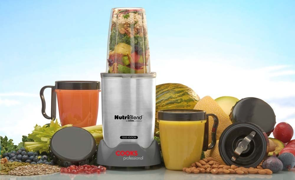 Cooks Professional 10 Piece Nutriblend 1000 Edition Premium Blender, Nutrition Extractor, Free Recipe Book (Silver) Silver