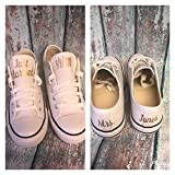 Personalized Wedding Shoes Reception Sneakers White Canvas Personalized Bride Flats Photography Props Bridal Shower Gift Custom Tennis