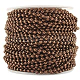 CleverDelights Ball Chain Roll - 100 Feet - Antique Copper Color - 2.4mm Ball - #3 Size - Bulk