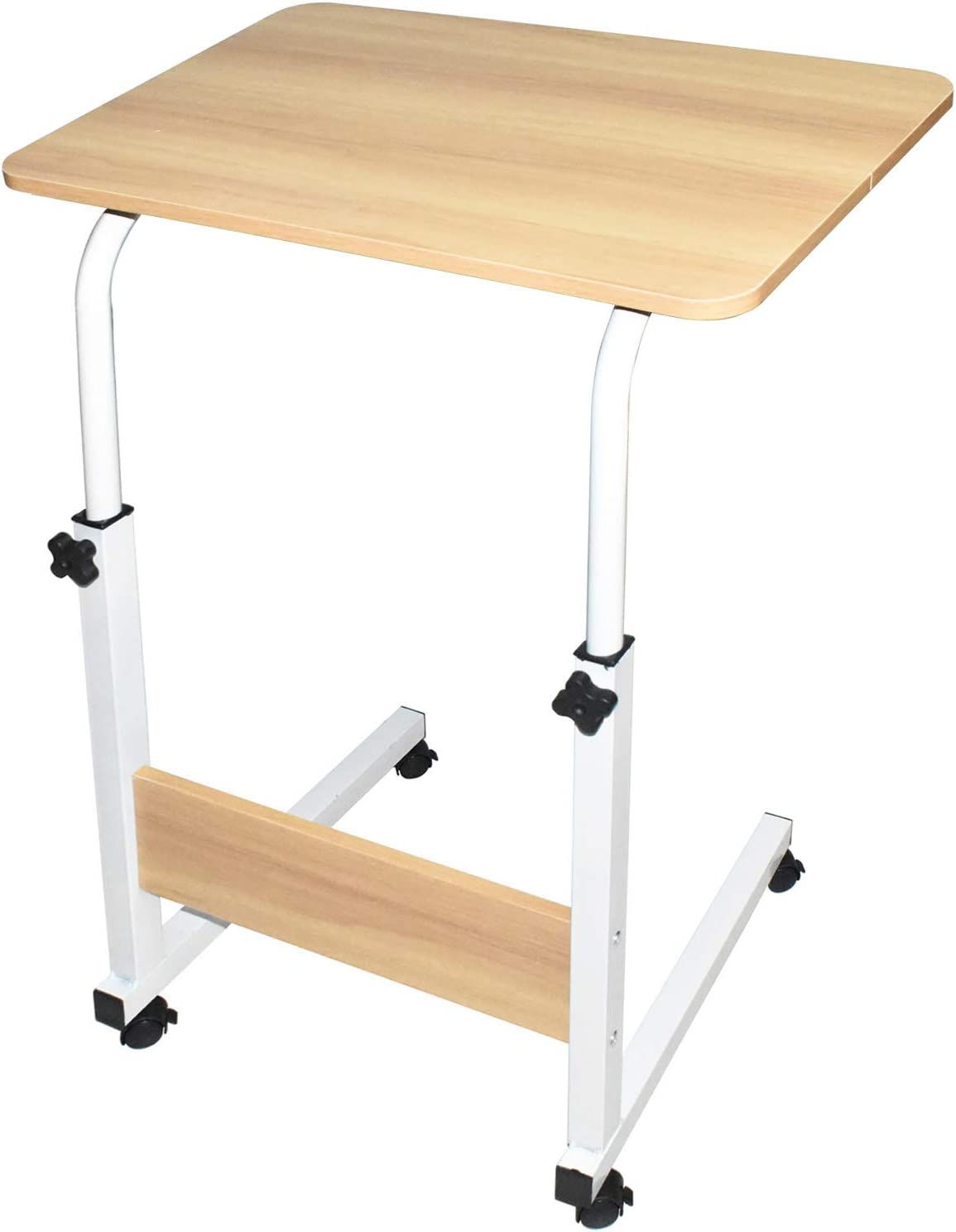 Sofa Side Table with Wheels, Height Adjustable Small Home Office Desk for Small Spaces, Overbed Bedside Table, School Student Study Writing Desk, Laptop Desk TV Table for Living Room Bedrooms (Oak)