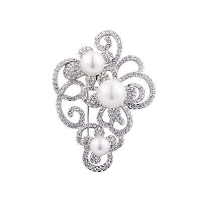 a158a08ea Exquisite Sparkle Pearl Women's Brooches Swarovski Crystal Rhinestone  Brooch Pin for Wedding Party Jewelry Gift (