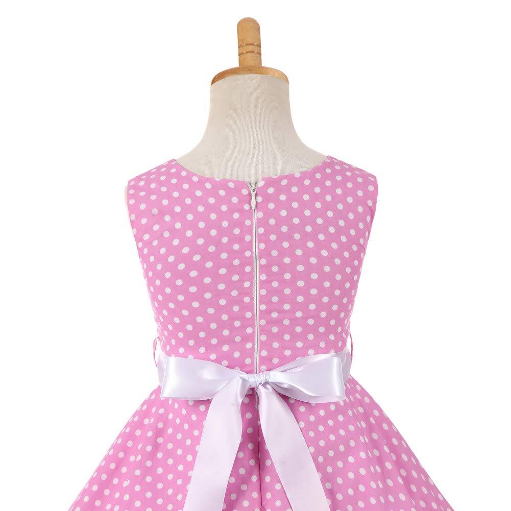 YFCH Bambina Ragazze Abiti Festa da Principessa con Cintura Vestiti da Cerimonia Senza Maniche Stampato Eleganti