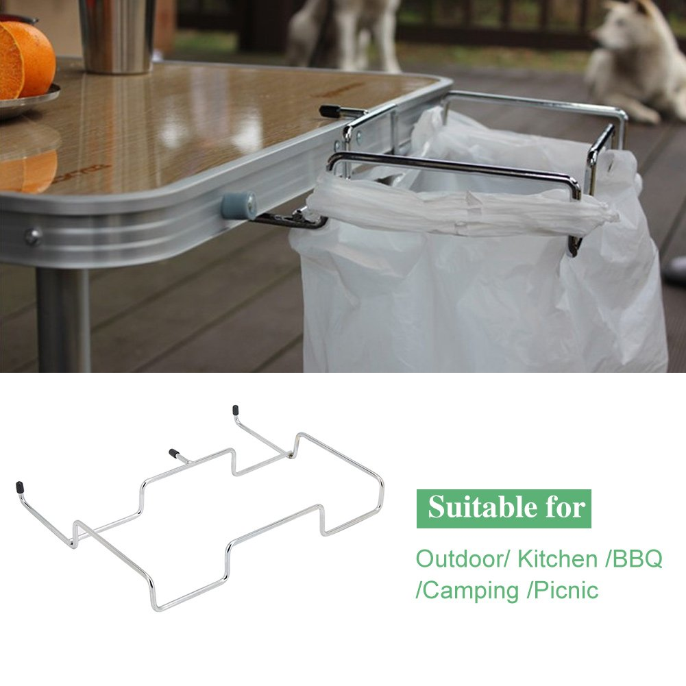 trash bag rack-Trash Can Bracket Dustbin Cage Garbage Plastic Bag Holder Table Rack Outdoor Indoor Travel Use B077QYXZTS