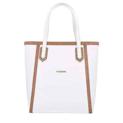 d29613aa8b Nero Giardini donna Borsa shopping bag bianco P945031D: Amazon ...