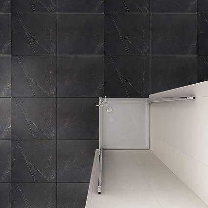 Mampara de ducha con puerta oscilante, cristal auténtico: Amazon ...