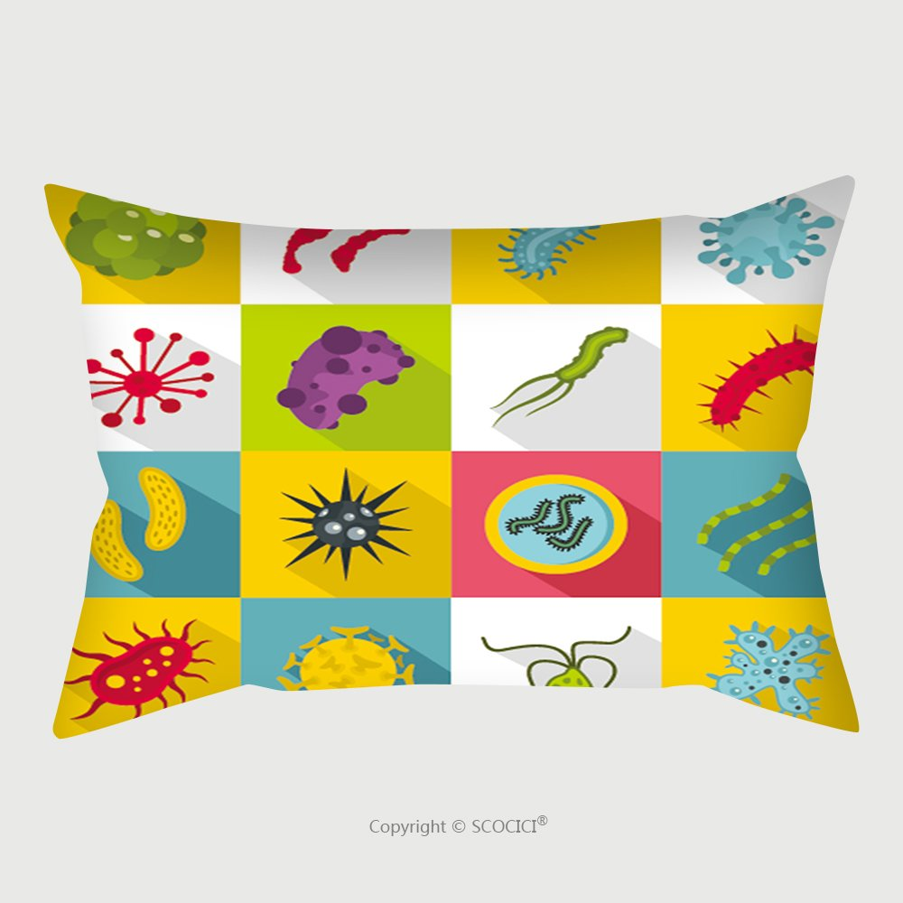 Custom Satin Pillowcase Protector Virus Bacteria Icons Set Flat Illustration Of Virus Bacteria Vector Icons For Web Organisms 520649896 Pillow Case Covers Decorative