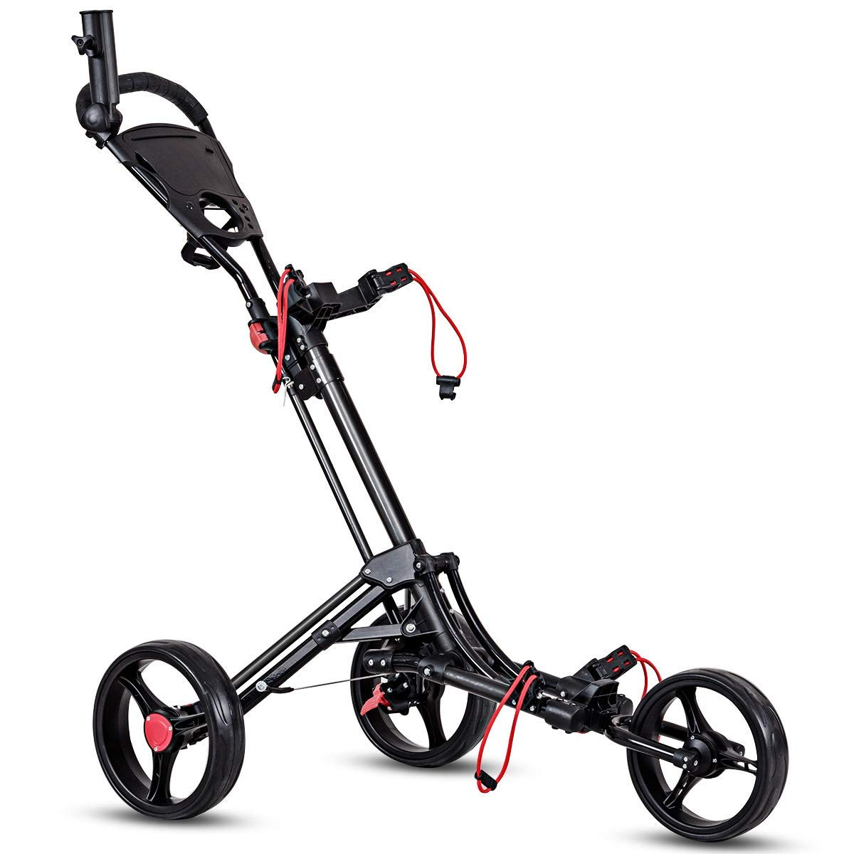 Tangkula Golf Push Cart 3 Wheels Foldable Hand Cart Easy Push and Pull Cart Trolley with Umbrella and Tee Holder, Quick Open and Close Golf Pull Cart by Tangkula