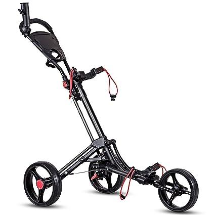 Amazon.com: Tangkula carrito de golf con 3 ruedas, plegable ...