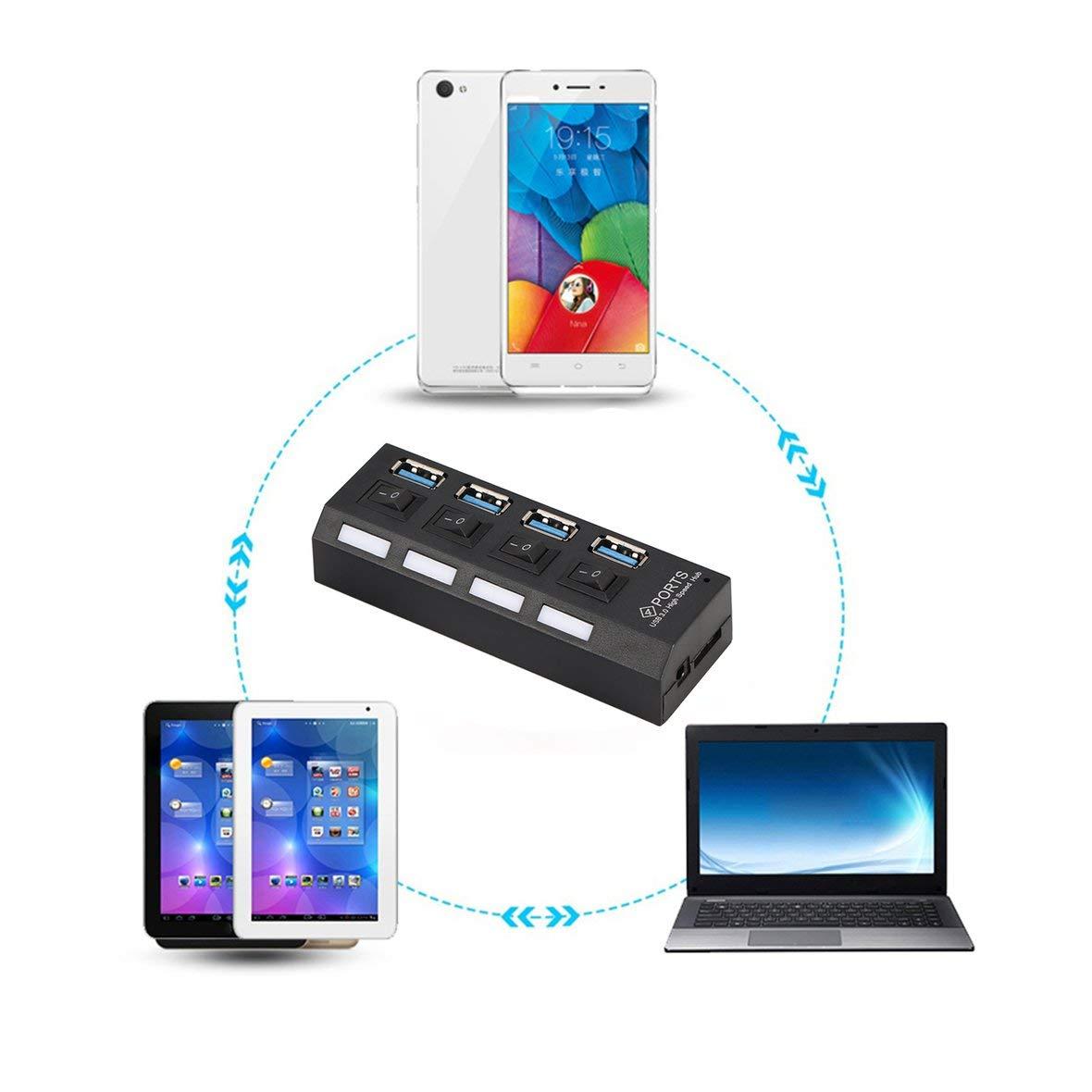 Heaviesk Hub 4 Ports USB 3.0 Haute Vitesse aliment/é avec Adaptateur et commutateurs ind/épendants Voyant Del pour Game Pc Smart TV