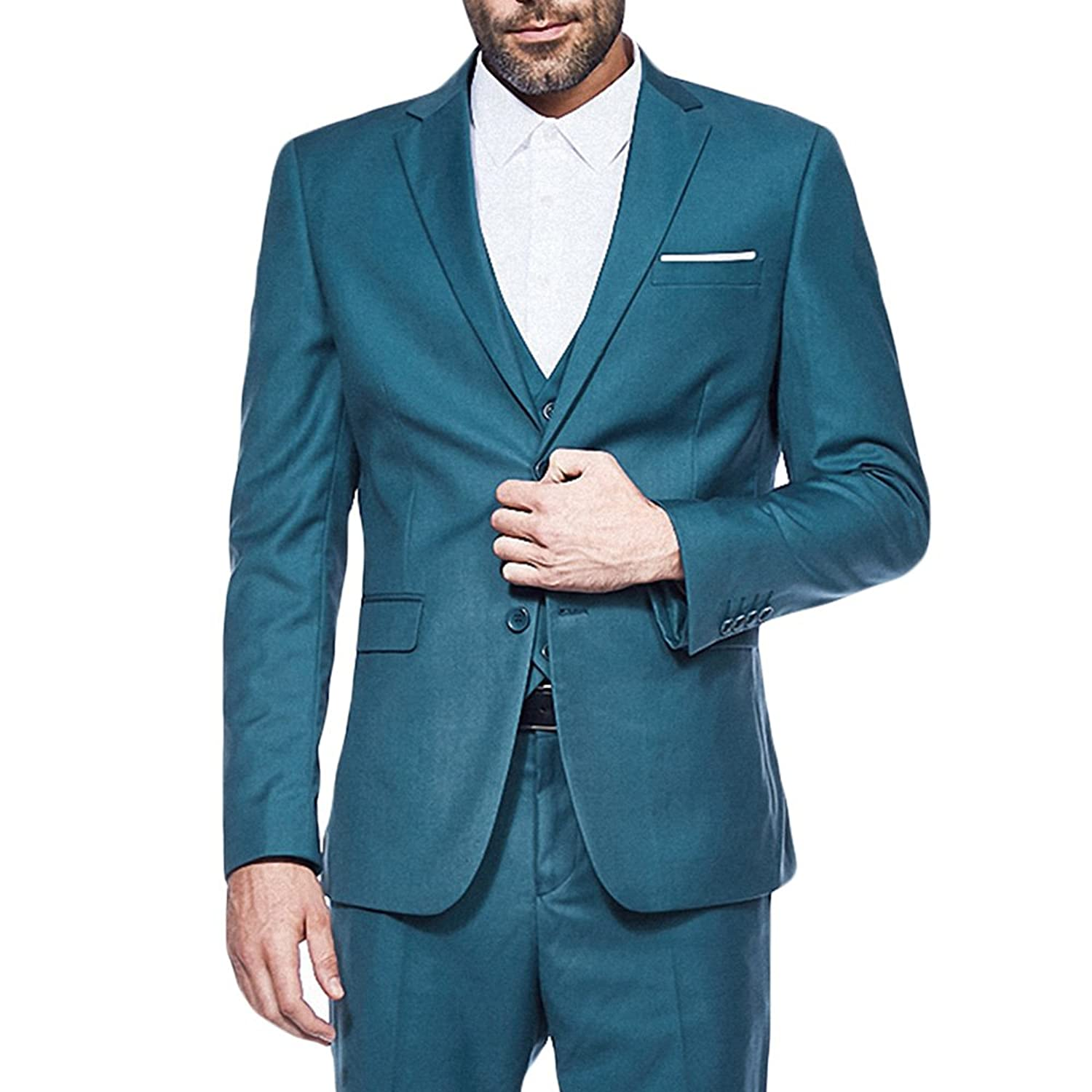 YIMANIE Men\'s Suit 3 Piece Single Breasted Jacket Two Button Slim ...