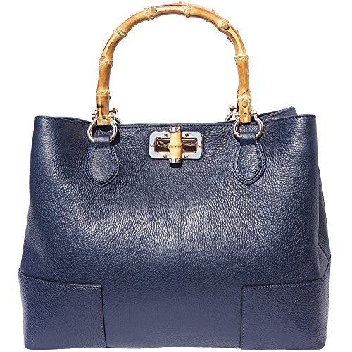 Blue Leather With Bag 9138 Wooden Handle Navy Ywgw6xrq