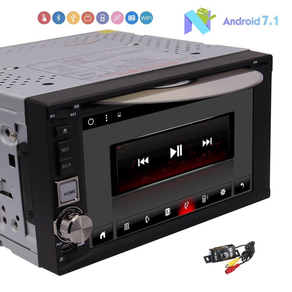 最新のAndroid 7.1オクタコア車のDVDプレイヤーシステムダブル2ディンカーステレオシステムダッシュGPSナビゲーションヘッドユニットAutoradio BluetoothのビデオオーディオMirrorlink無線LAN、ブルートゥース無料バックカメラで B0778H42J2