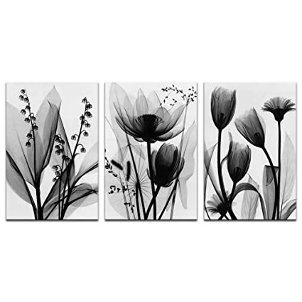 aa336a13f Visual Art Decor Black and White Flowers Painting Transparent Floral  Picture Canvas Prints Framed and Stretched