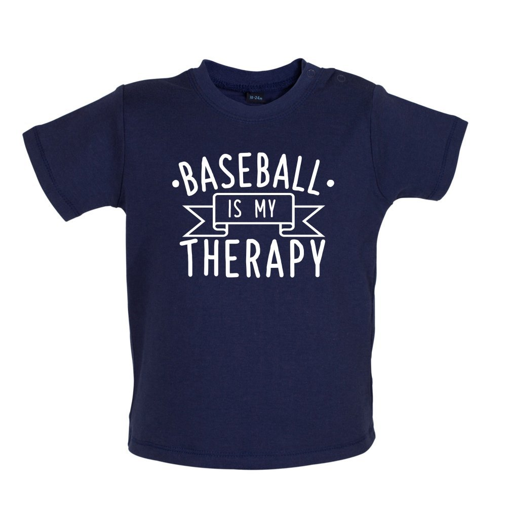 8 Colours Baby//Toddler T-Shirt Dressdown Baseball is My Therapy Ages 3-24 Months
