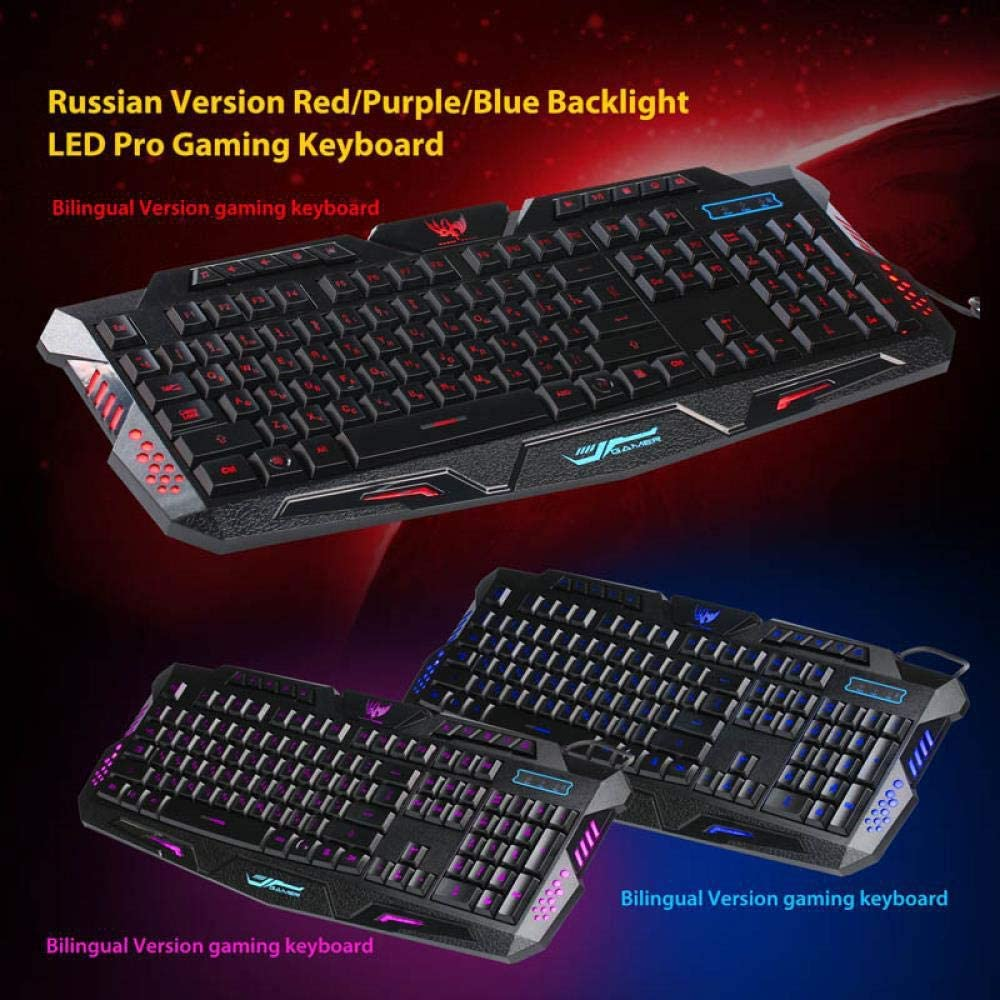 LED Backlight Gaming USB Wired Keyboard Mouse Combos Full Key Mechanical Keyboard Game Keyboard Multi-System Compatible English Version