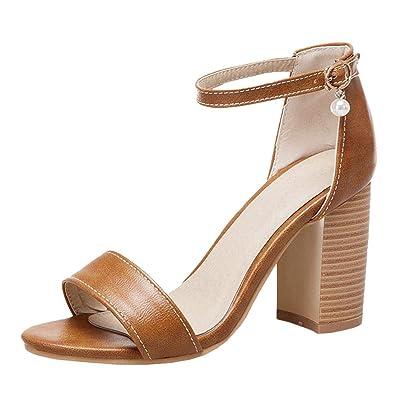 c553de2901 Agodor Damen Chunky Heels Knöchelriemchen Sandalen mit Blockabsatz High  Heels Sandaletten 8cm Absatz Single Band Schuhe