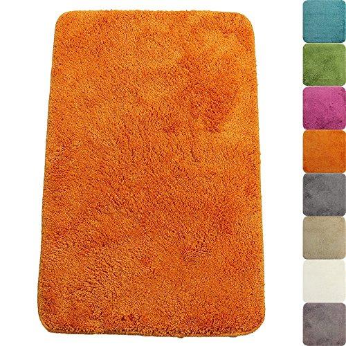 Badematte Lasalle 60 x 90 cm in Orange Premium Badvorleger 1200 g/m² - weitere Farben & Größen wählbar