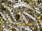 Pack of 1, White & Gold Crinkle Cut Shred 40 Lb Spring-Fill Shred for Baskets, Basket Boxes, Bags, Containers & Nested Boxes