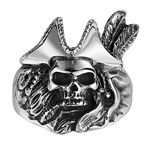 (HongBoom Jewelry Men's Vintage Gothic Pirate Skull Rings 316L Stainless Steel Rock Punk Princess Ring High Polished Size 8-11 (10))
