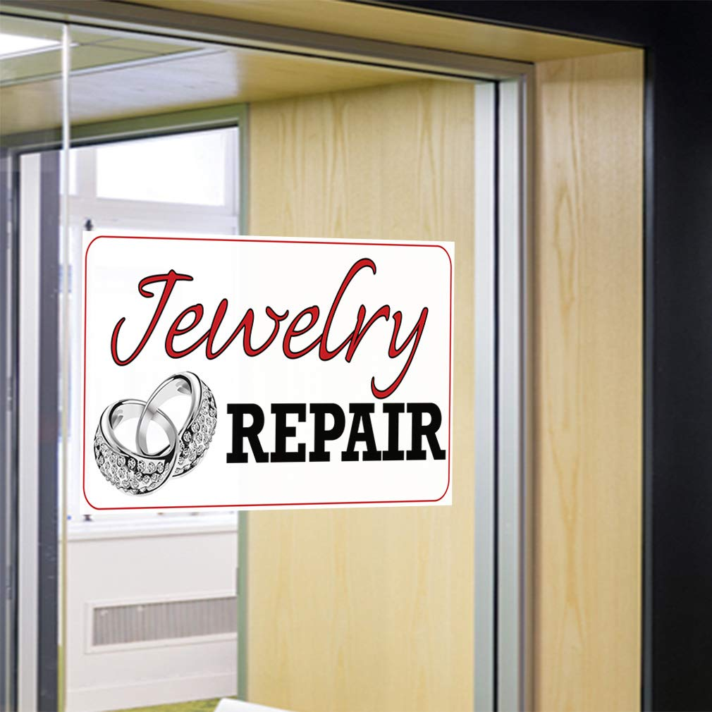 Set of 5 45inx30in Decal Sticker Multiple Sizes Jewelry Repair #2 Business Repair jewelries Outdoor Store Sign White
